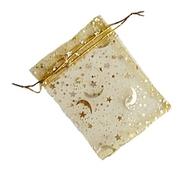 Organzapåse Guld med Guldstjärnor och Månar 10 st