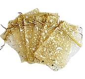 Organzapåse Guld med Guldstjärnor och Månar 5 st