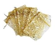 Organzapåse Guld med Guldstjärnor och Månar