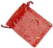 Organzapåse Röd med Guldstjärnor och Månar 10st Ca 9x12cm
