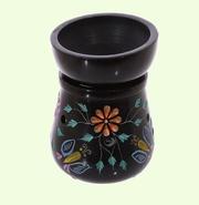 Svart  Aromalampa med Blommor och Fjärliar