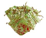 Organzapåse Lime med Guldrosor