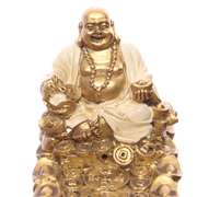Kinesisk Buddha Penga Askfångare Vit & Guld