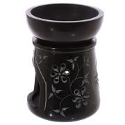 Svart Aromalampa med Blommor och Löv Mönster
