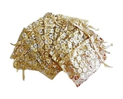 Organzapåse Guld med Guldblommor Ca 9x12cm