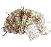 Organzapåse Vit med Guldmönster Ca 8,5x11cm, 5st