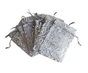 Organzapåse Silver med Silvermönster